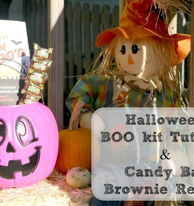 Halloween BOO'ing Kit Tutorial & Candy Bar Brownies Recipe! #BOOItForward