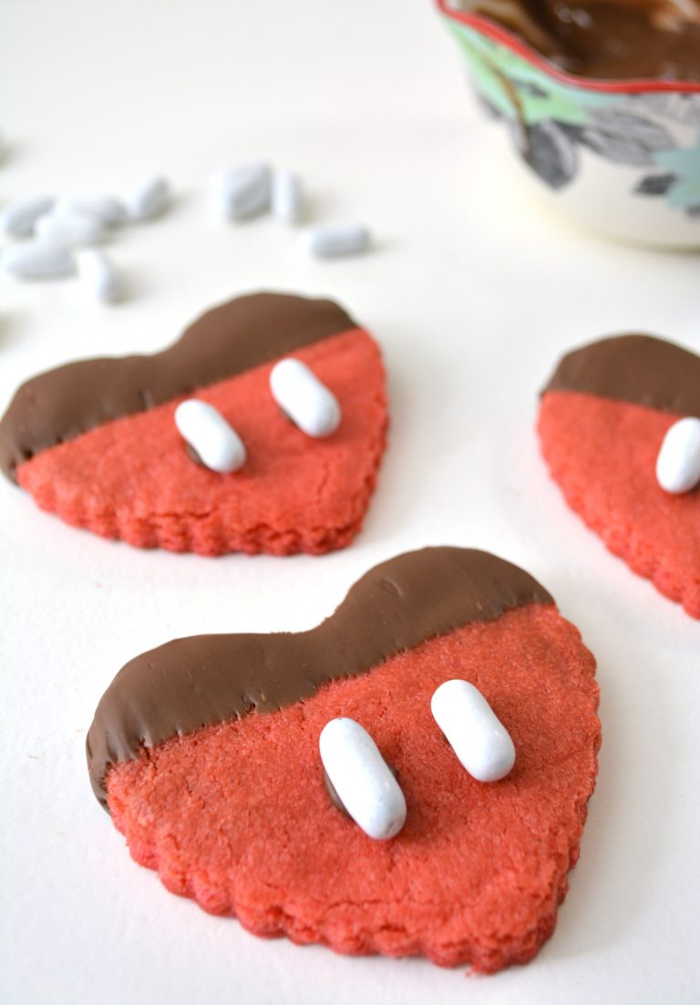 Mickey Inspired Chocolate Heart Sugar Cookies Recipe