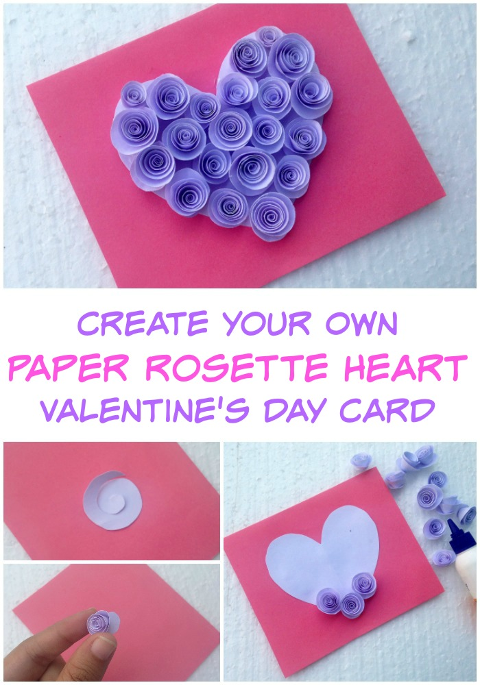 Create Your Own Paper Rosette Heart Valentine's Day Card