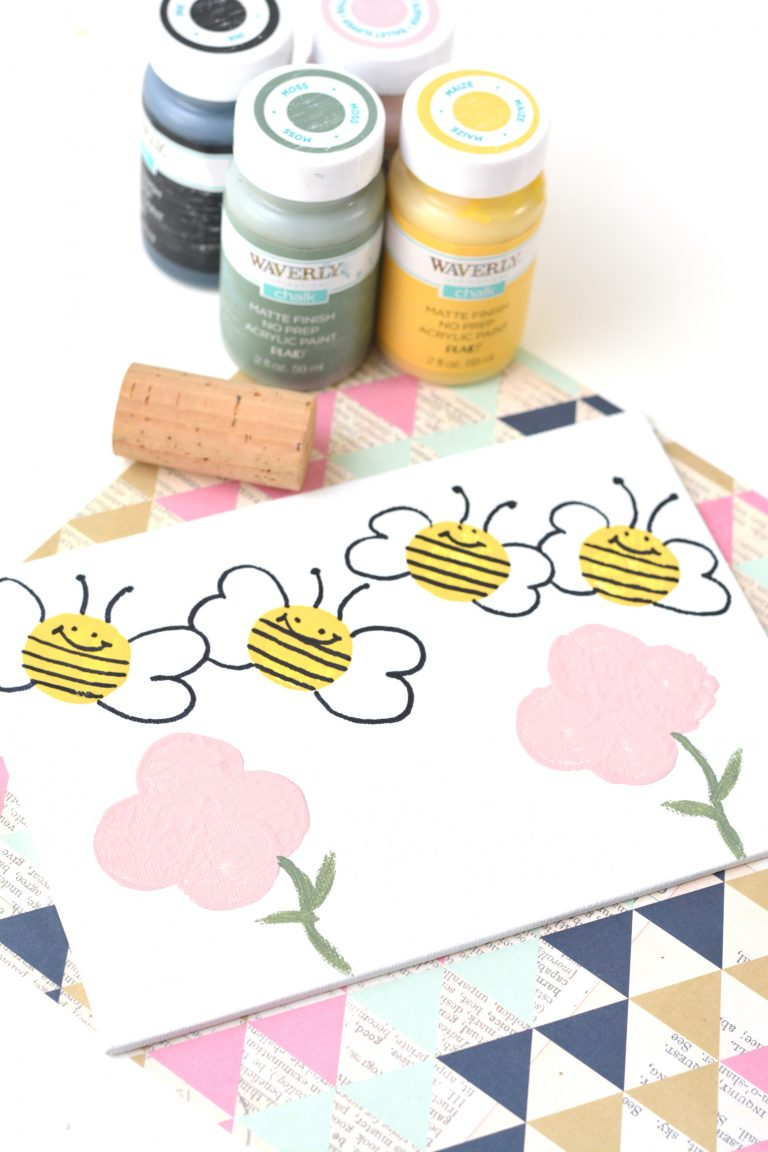 Easy Bumble Bee Wine Cork Painting Craft for Kids