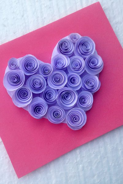Create Your Own DIY Rosette Heart Valentine's Day Card