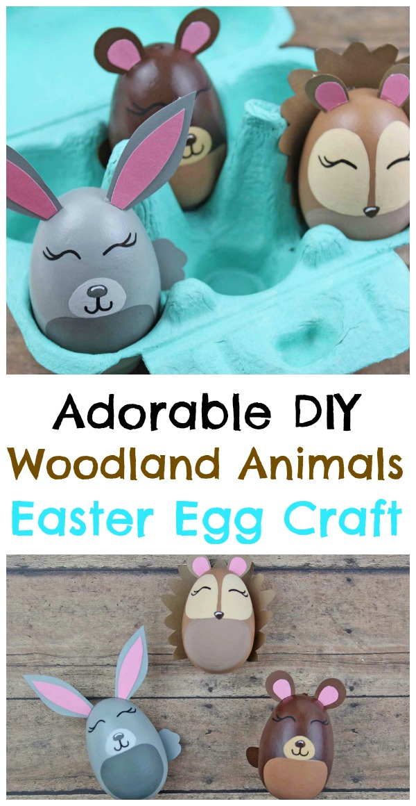 Are your looking for a fun Easter Egg Craft that will last all year long?  Check out these amazing Woodland Animal Easter Eggs that are made out of wooden eggs! You could pack them up for next year, use them to decorate a planter, or they would look adorable on a shelf in a woodland themed nursery! Easter Crafts for Kids - Woodland Animal Easter Egg Craft - Easter Egg Decorating - Easter Egg Ideas - Easter Bunny Easter Egg - DIY Easter Decoration