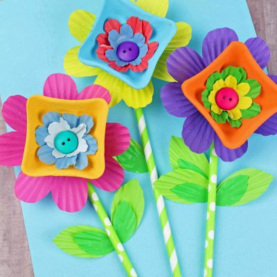 Cupcake Liner Cardboard Easy Flower Craft
