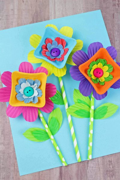Cupcake Liner Cardboard Easy Flower Craft