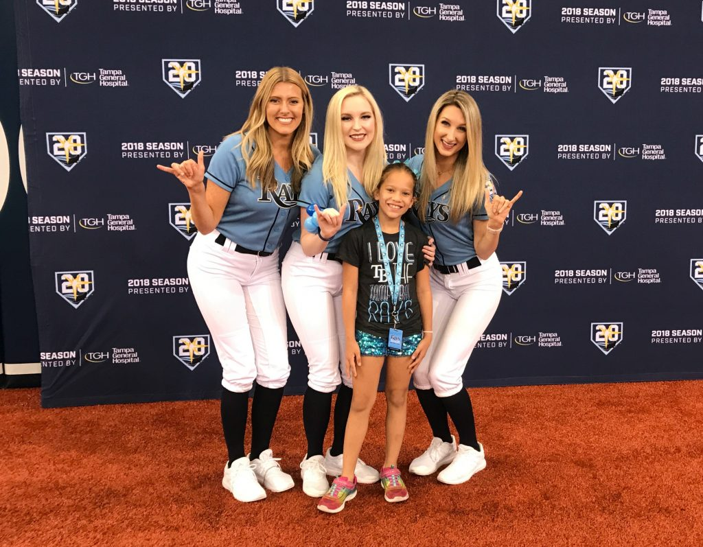 Tampa Bay Rays Family Fun Day baseball girls