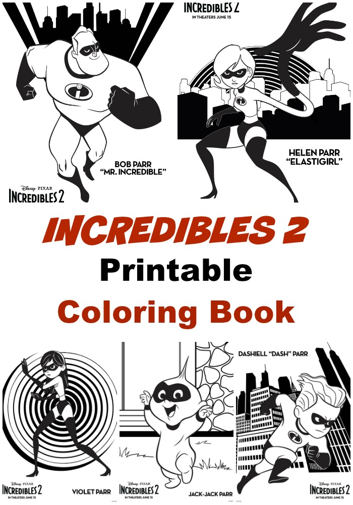 Incredibles 2 Printable coloring book