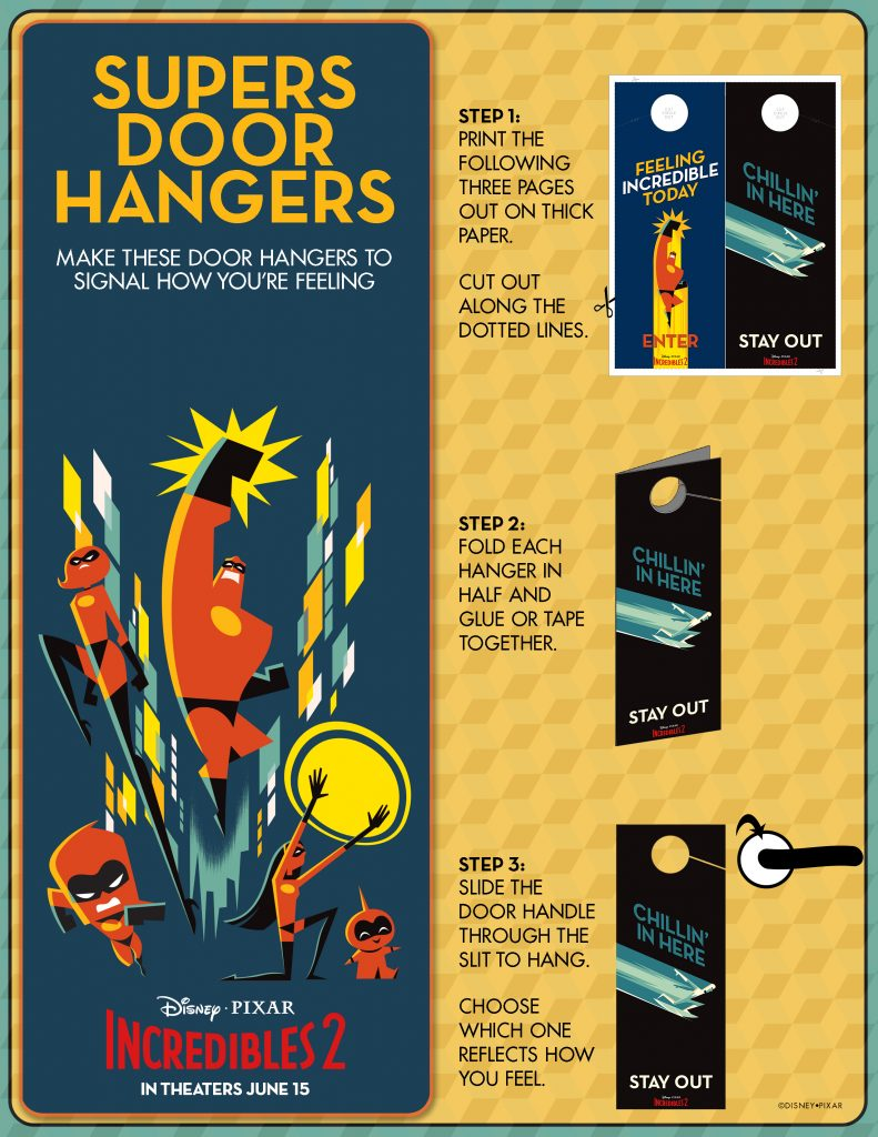 Incredibles 2 printable Supers Door Hangers