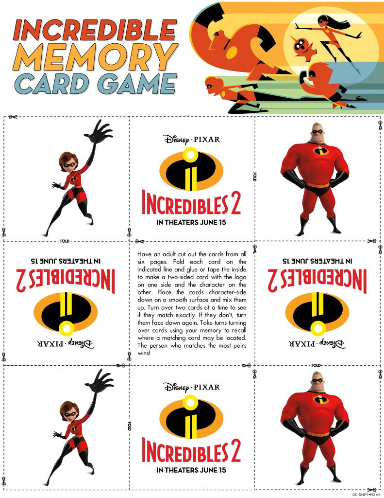 Incredibles 2 Memory Card Game Printable