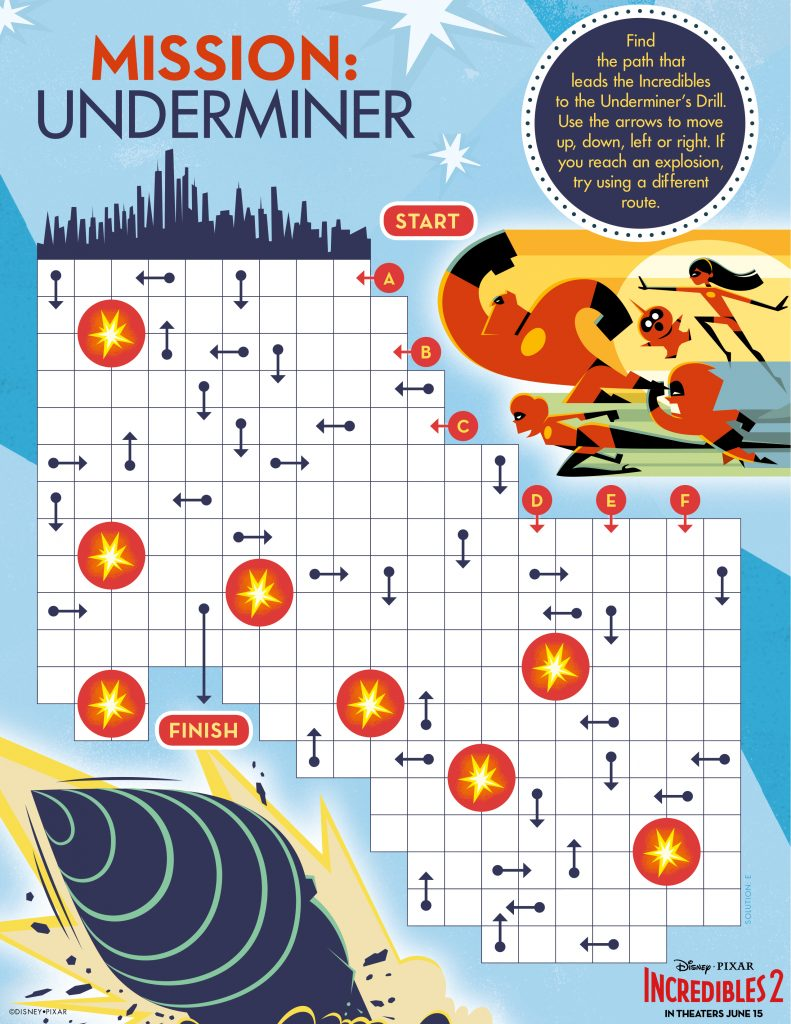 Incredibles 2 Mission Underminer Printable Activity