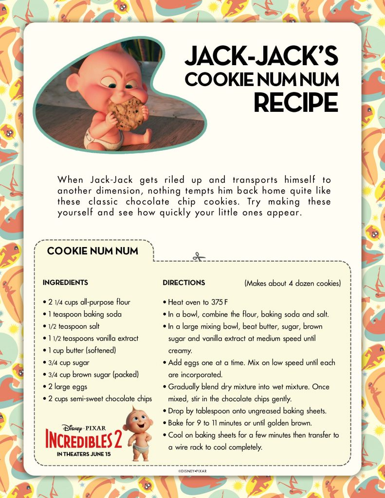 Incredibles 2 Jack Jack Cookie Num Num Recipe Printable