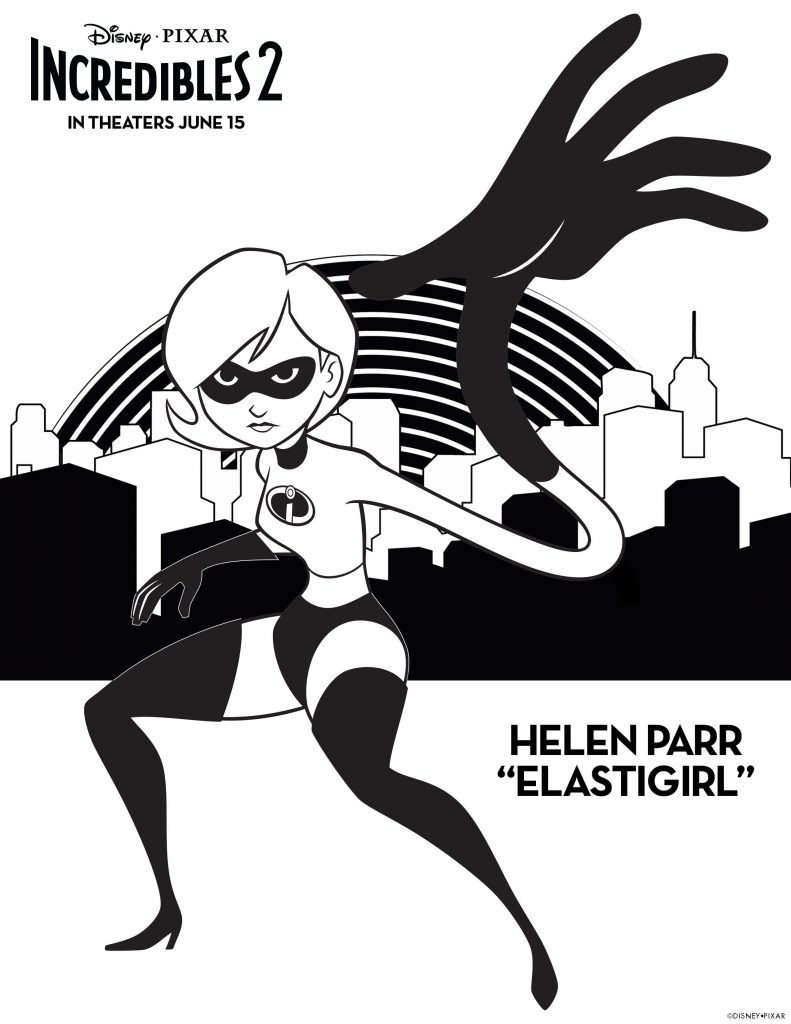 Incredibles 2 Elestigirl Coloring Sheet Printable