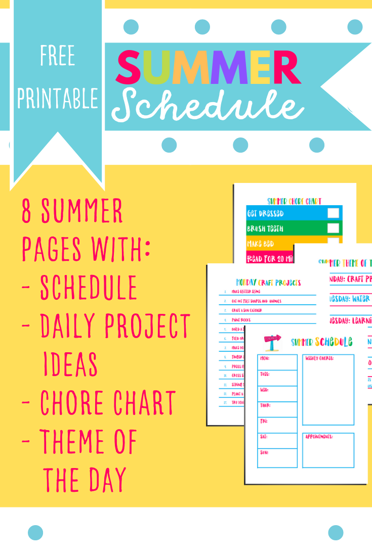 Printable Summer Schedule Planner