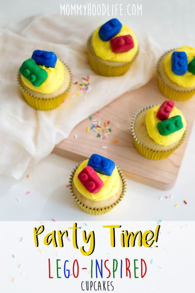 LEGO Themed Birthday Cupcakes Recipe with Candy LEGO Bricks
