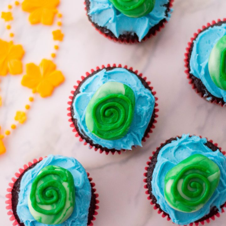 Moana Cupcakes Inspired by the Heart of Te Fiti
