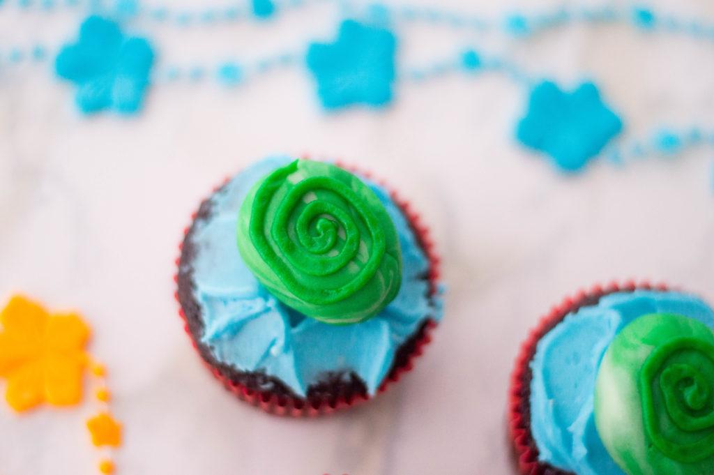 Moana Cupcakes recipe Heart of Te Fiti Birthday