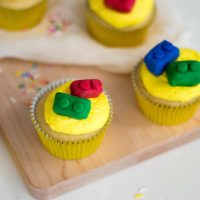 LEGO Themed Birthday Cupcakes Recipe with Candy LEGO Bricks
