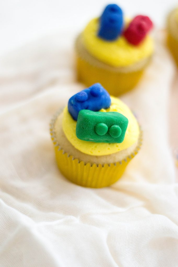 Cupcakes with Lego Brick Topping
