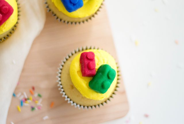 Candy LEGO brick topping on cupcakes