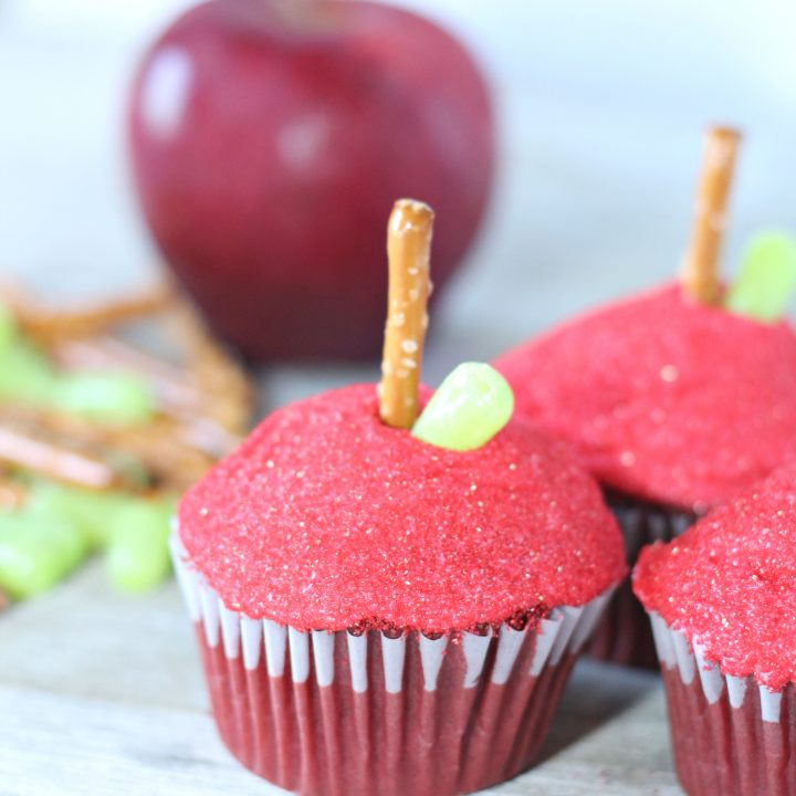 Apple Decorated Red Velvet Cupcakes