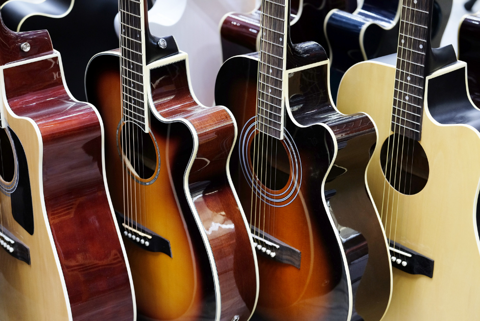 Guitars on display for children
