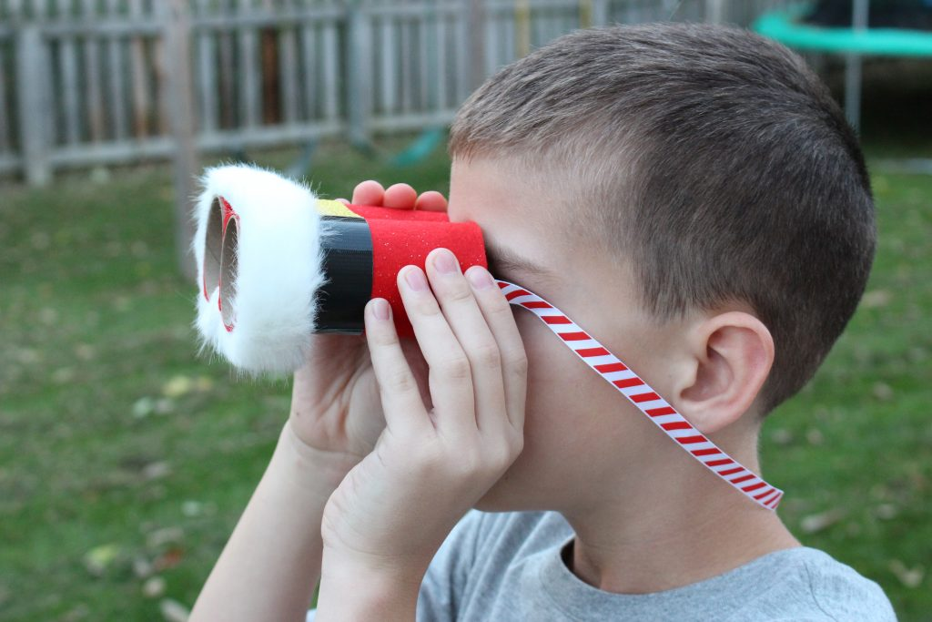Boy using Santa Binoculars Christmas Craft