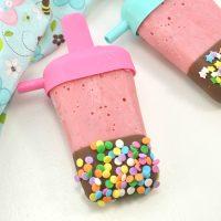 Strawberry Hot Fudge Popsicles