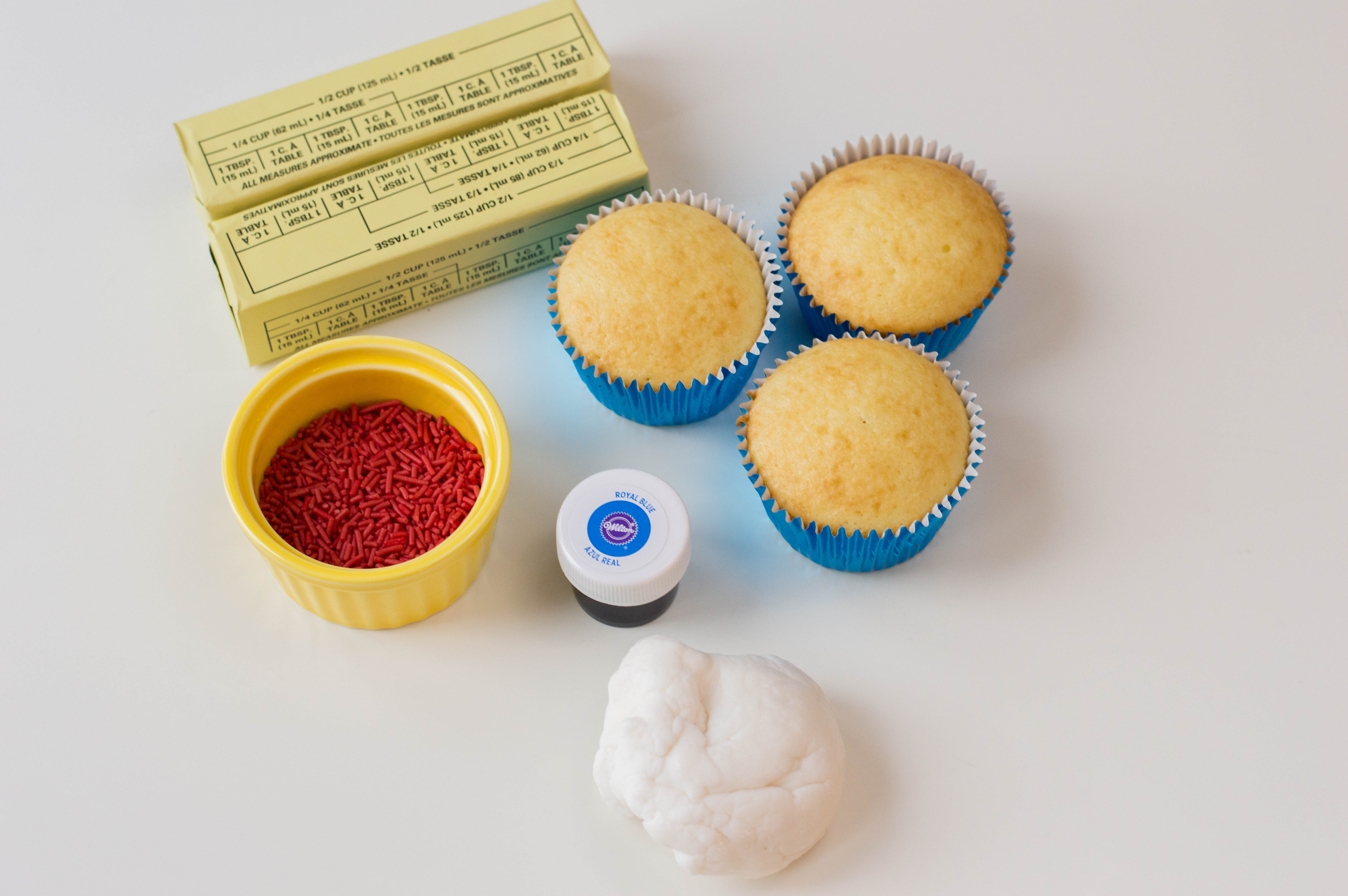 4th of July Cupcake ingredients