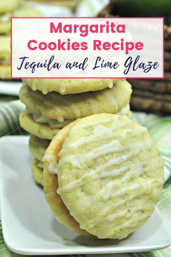 Margarita Cookies with Lime Glaze on Plate