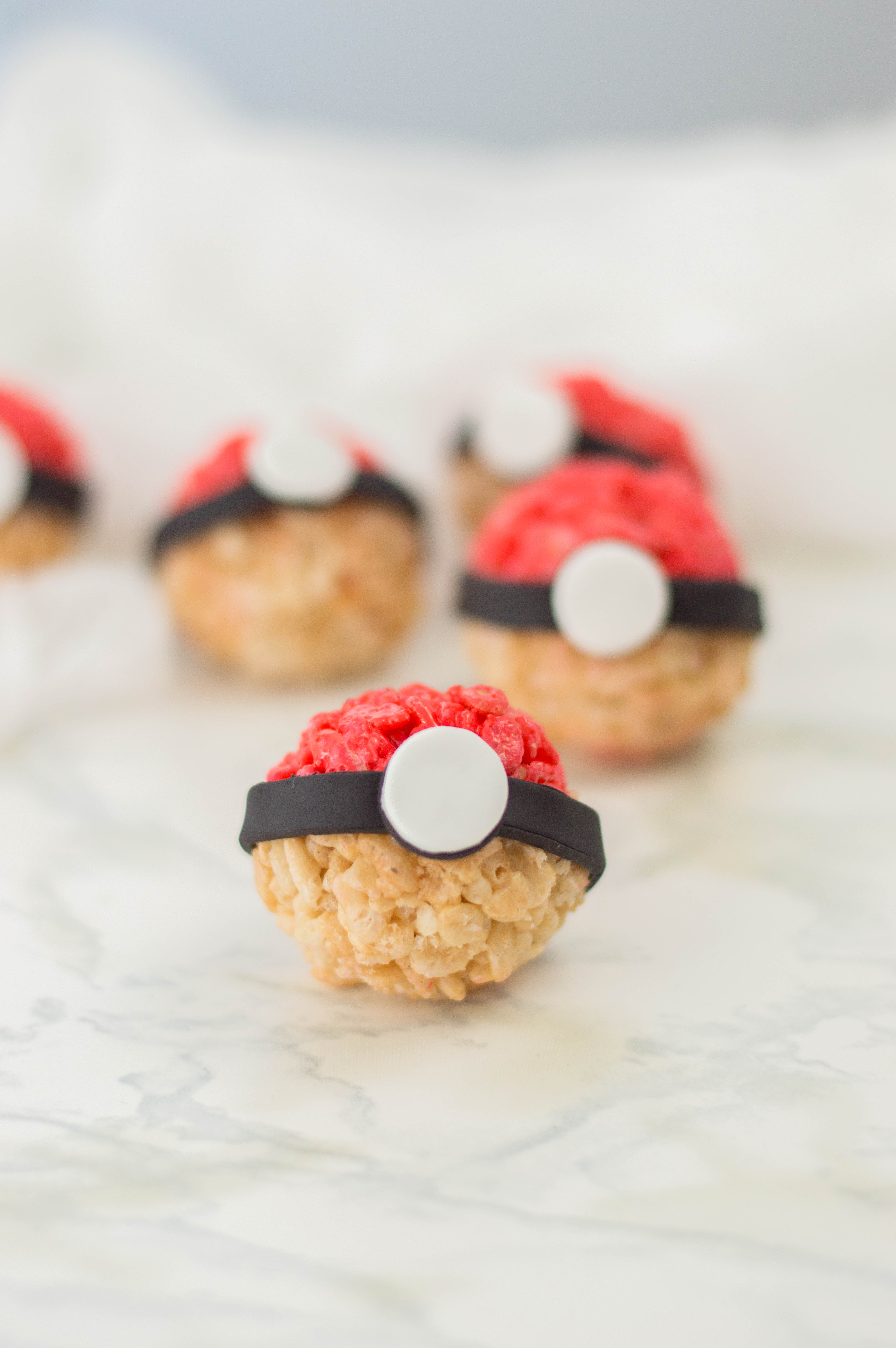 Pokeballs made from rice krispy Treats