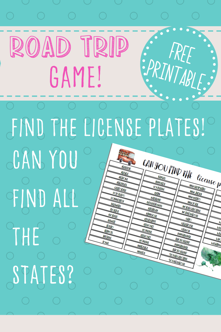 License Plate Game Free Printable