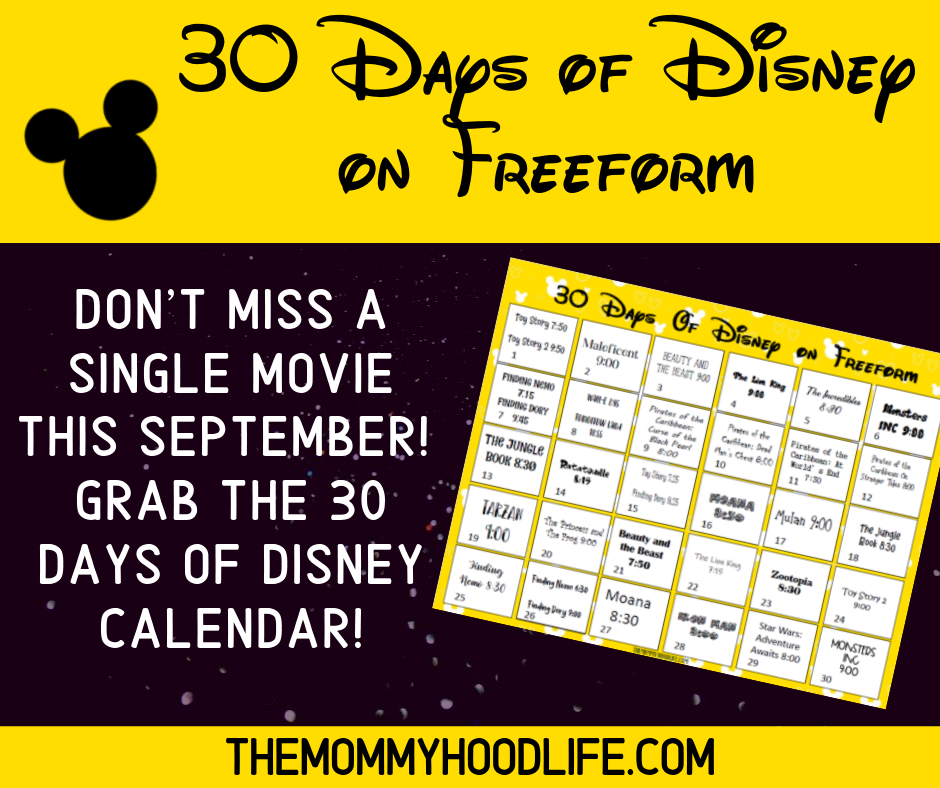 image relating to Disney Printable Calendar known as 30 Times of Disney upon Freeform Plan with Printable Calendar