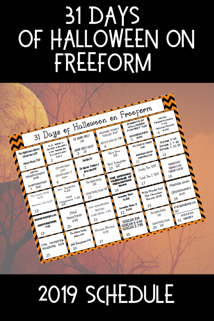 Freeform Halloween Movies printable 2019