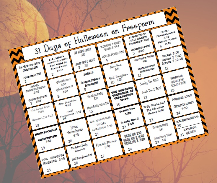 freeform halloween movies schedule 2019 printable