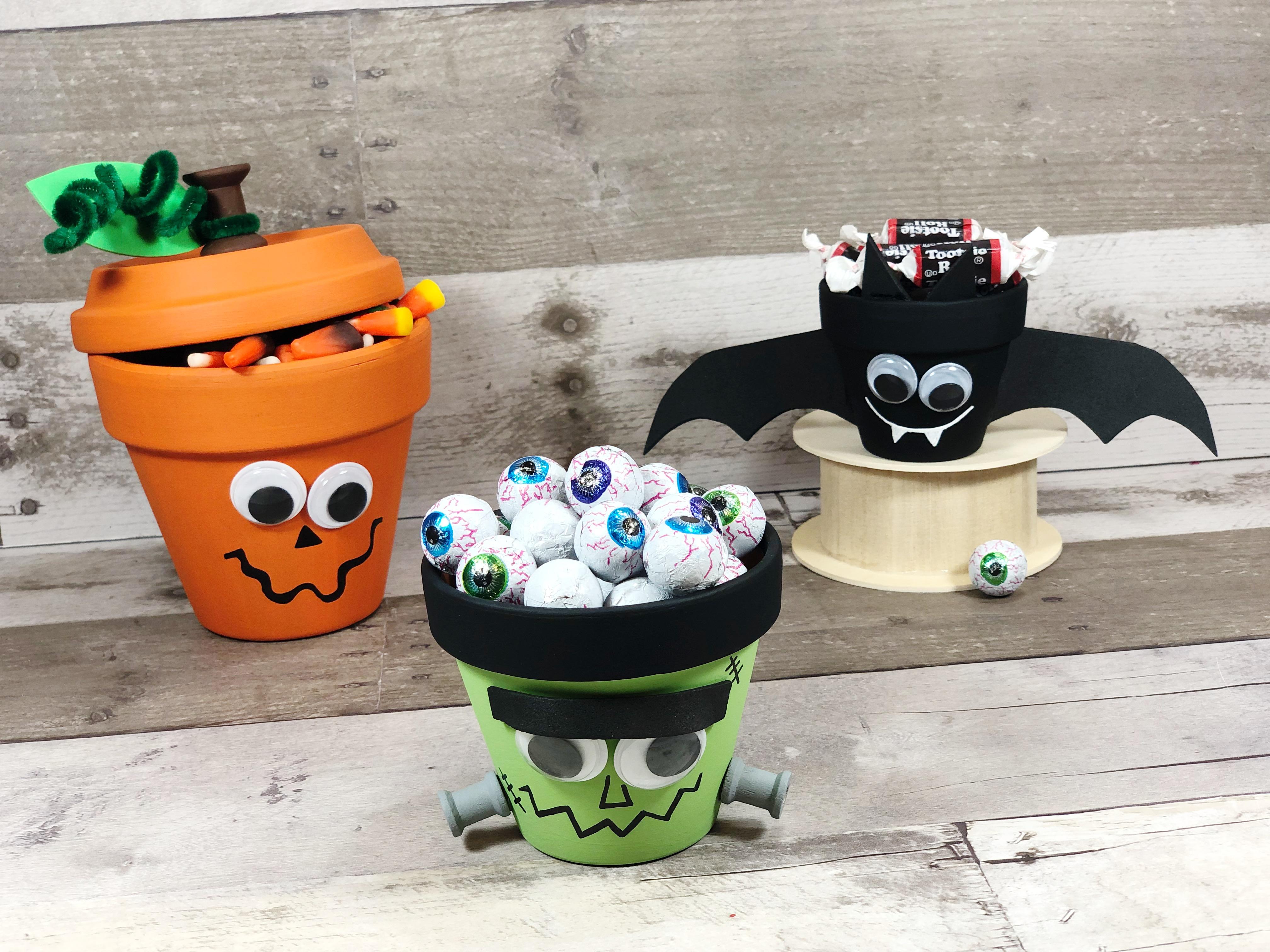 Halloween Crafts With Clay Pots Make A Pumpkin Bat And Frankenstein