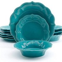 The Pioneer Woman Paige 12-Piece Dinnerware Set (Turquoise)