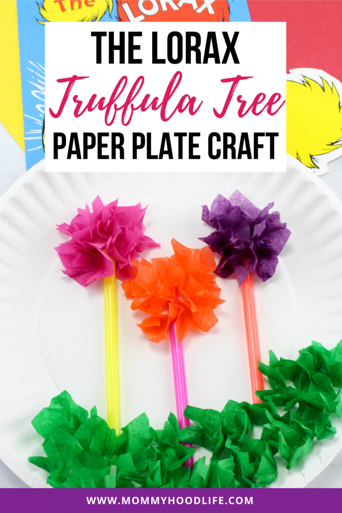 Lorax Truffula Tree Paper Plate Craft Idea