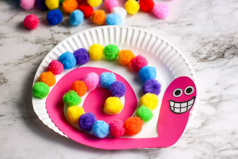 Colorful and Fun Pom Pom Snail Paper Plate Craft for Kids