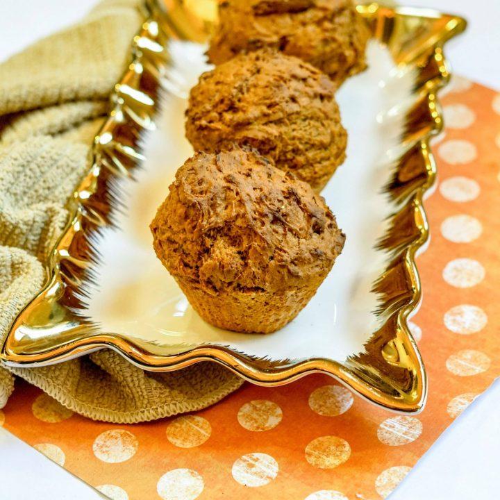Pumpkin Air Fryer Muffins on Plate