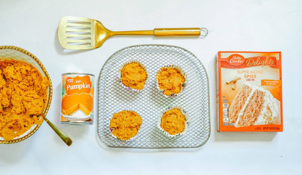 2 Ingredients for Pumpkin Muffins on Air Fryer Rack